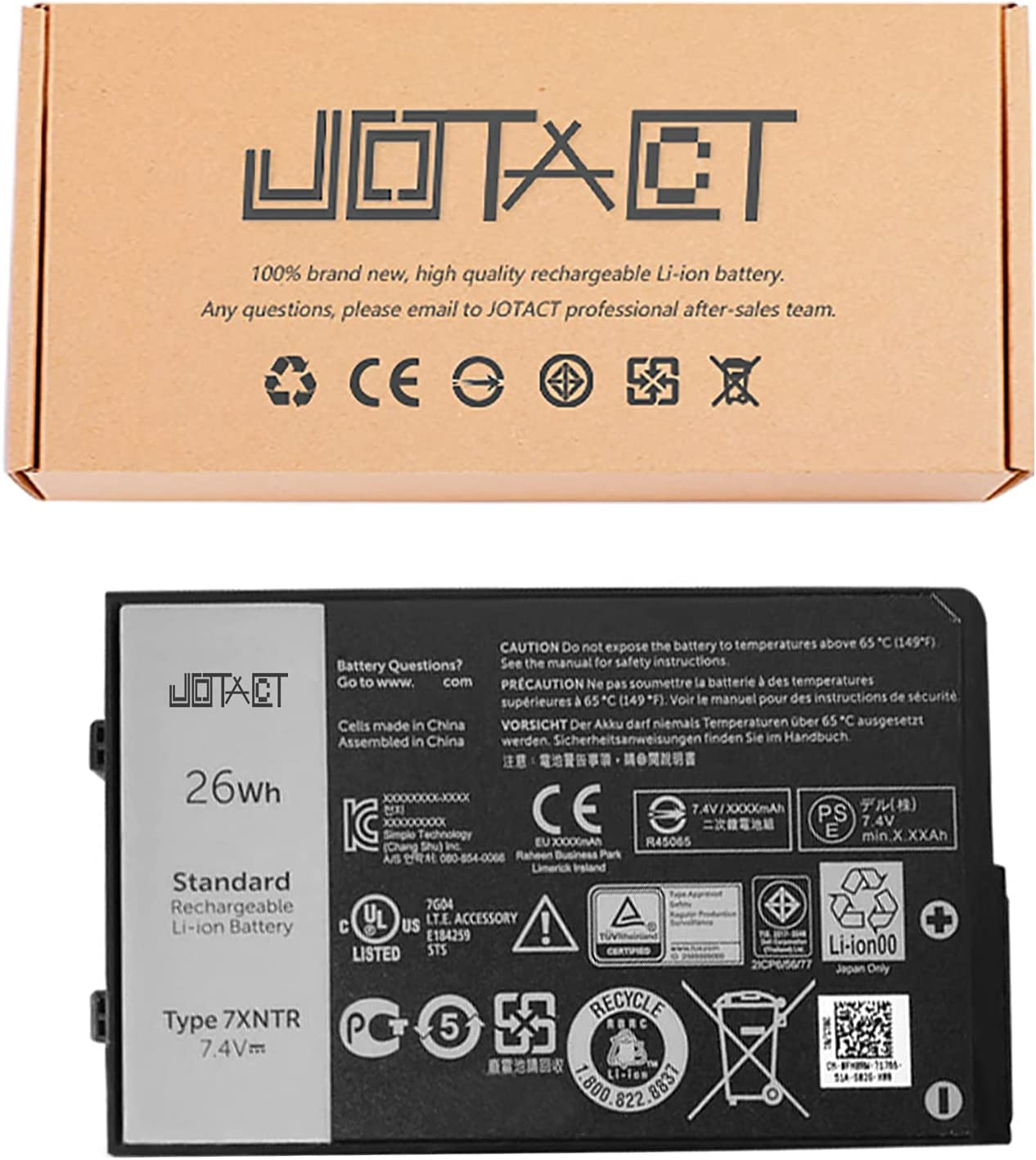 JOTACT 7XNTR(7.4V 26Wh/3420mAh 4-Cell) Tablet Battery Compatible with Dell Latitude 7202 7212 7220 Rugged Extreme Tablet Series FH8RW J7HTX J82G5