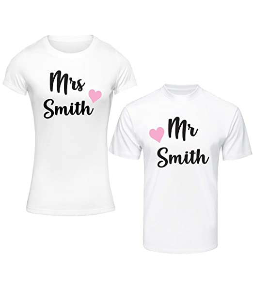 523b1a3bc6ee8 beyondsome Personalised 'Just Married' Heart Design Wedding T-Shirt Set
