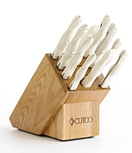 CUTCO Model 2001 White (Pearl) Homemaker Set............10 High Carbon Stainless knives & forks in factory-sealed plastic bags............#1741 Honey Oak knife block, #82 Sharpener, and 10'' x 13'' Poly Prep cutting board also included.