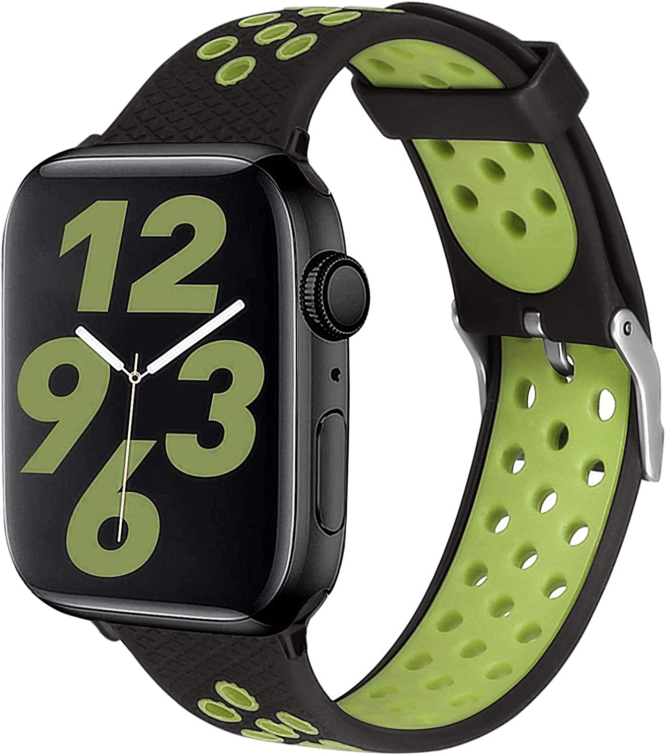 SKYLET Compatible with Apple Watch Bands Series 6 44mm 42mm Series 5 4 40mm, Sport Silicone Replacement Breathable Wristband Compatible with Apple Watch 38mm Series 3 2 1 se with Metal Clasp Men Women Black