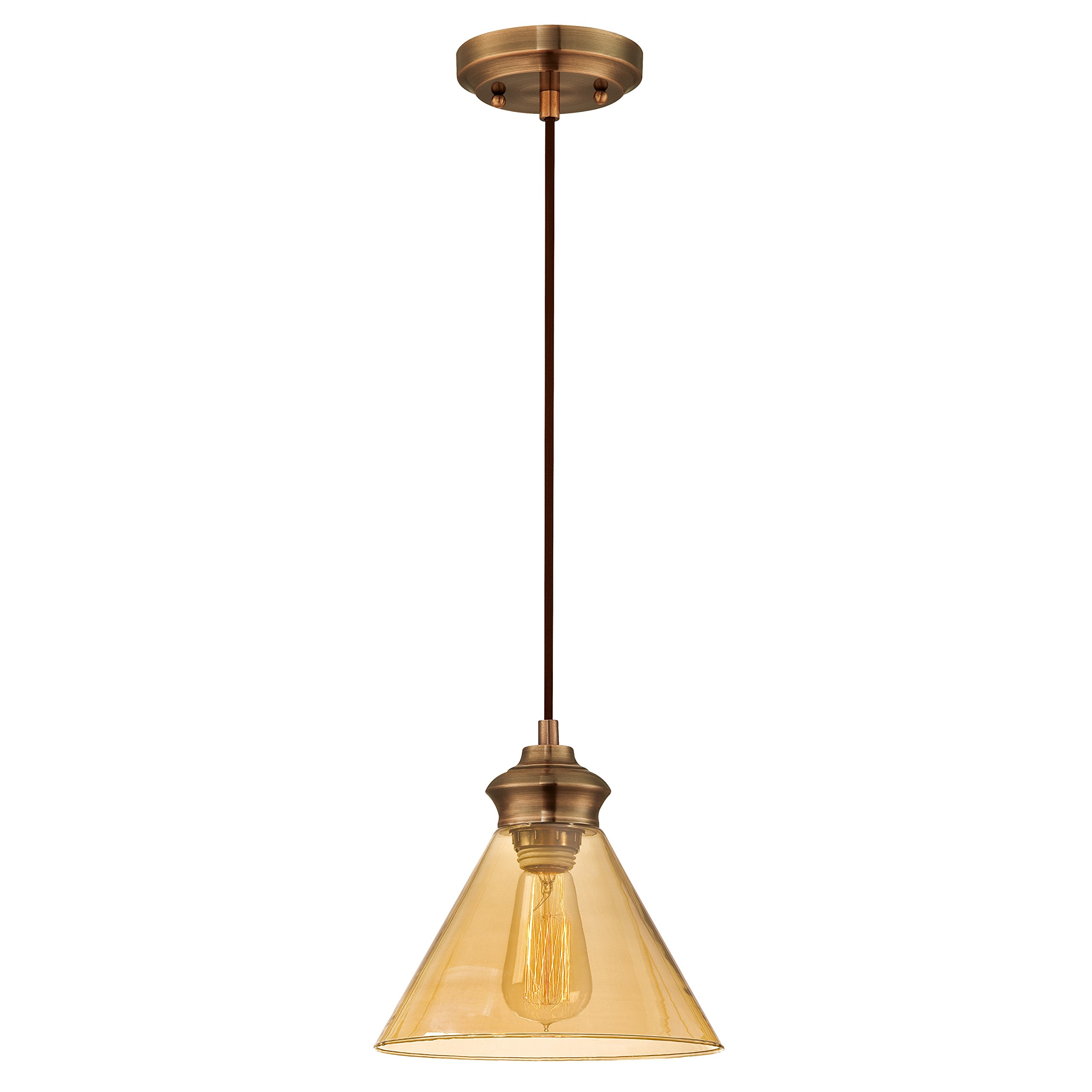 Westinghouse 6205400 One-Light Adjustable Vintage Mini Pendant with Amber Glass, Copper