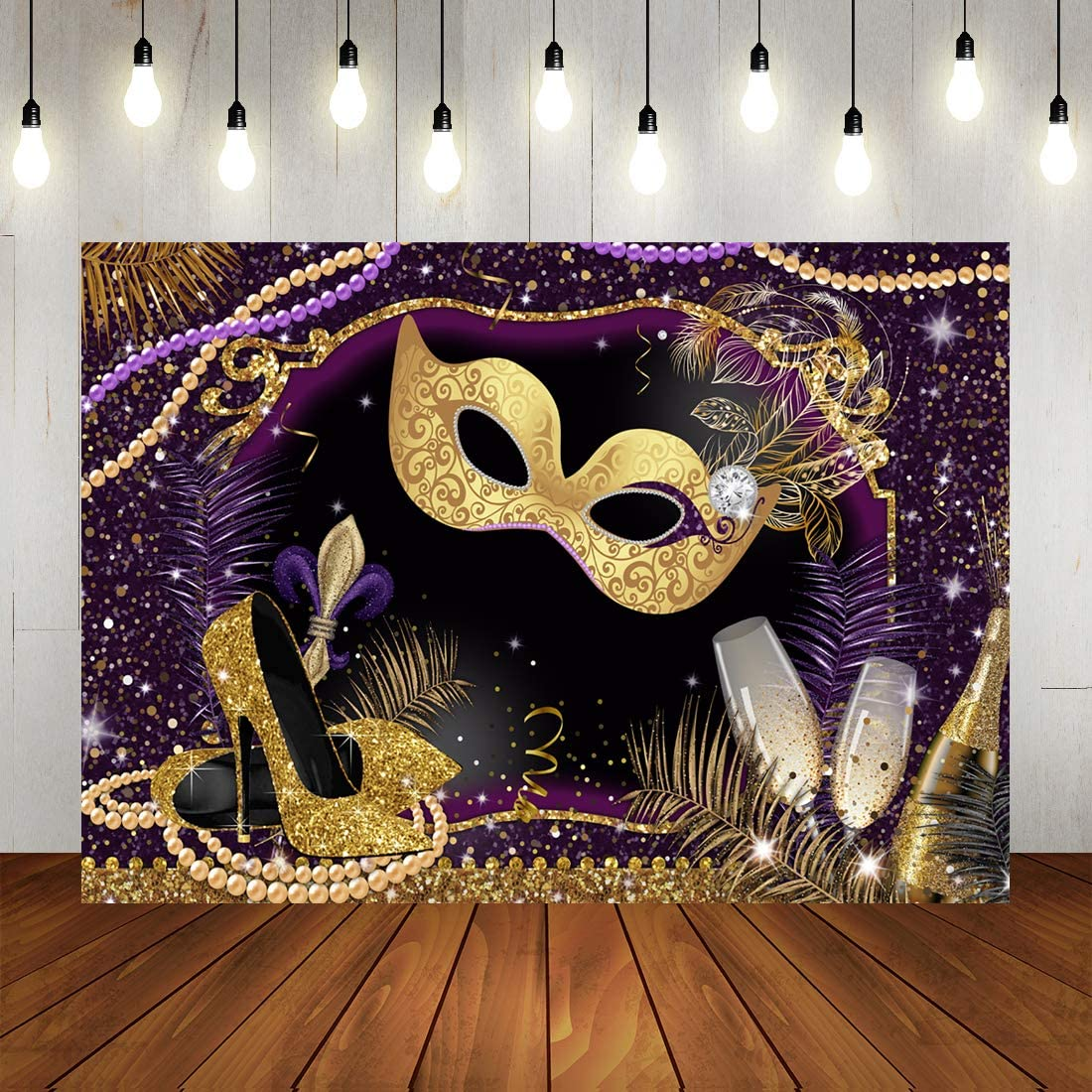 9x6ft Vinyl Photography Backdrop Masquerade Carnival Mask Blurred Bokeh Golden Glitter Spots Birthday Background Event Party Decoration Portrait Photo Shoot Studio Photo Booth Props