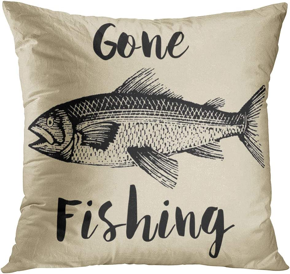 Amazon Com Emvency Set Of 4 Throw Pillow Covers Fish Fisherman Gone Fishing Rustic Vintage Funny Fear Me Navy Decorative Pillow Cases Home Decor Square 16x16 Inches Pillowcases Home Kitchen