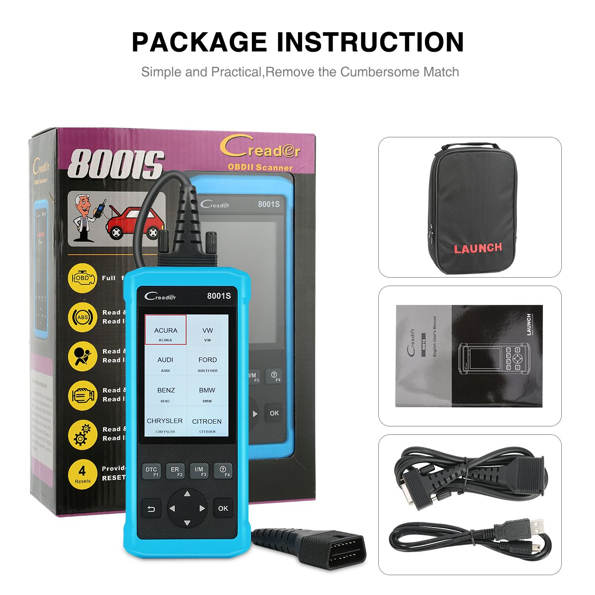 LAUNCH CR8001S Auto Scan Tool Code Reader Diagnostic OBD2 Scanner with ABS, SRS, Engine and Transmission Diagnoses and Oil Light Reset, EPB, SAS, BMS Reset by LAUNCH (Image #9)