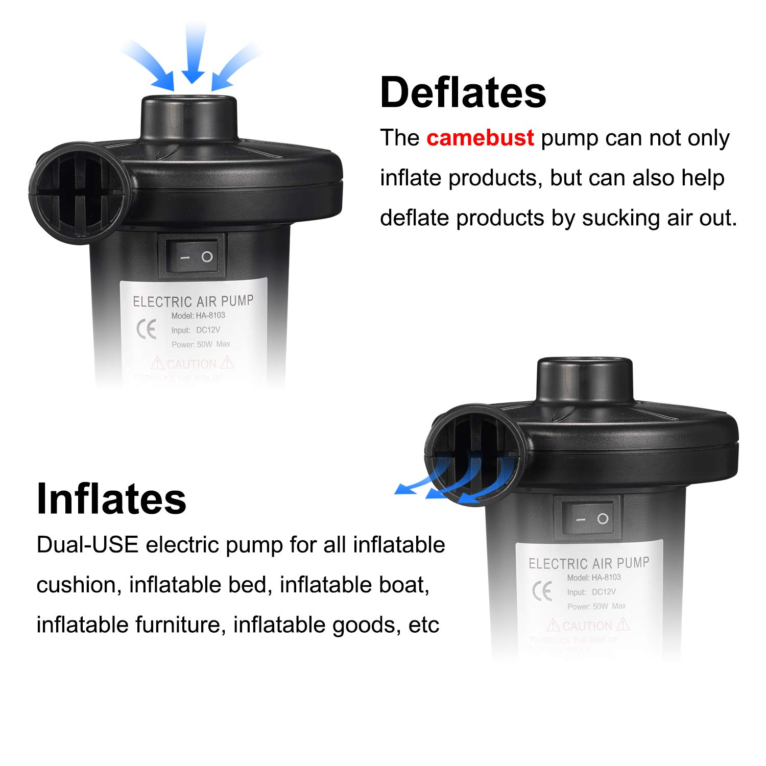 Black camebust Air Pump for Inflatables Portable AC 110V//DC 12V Quick-Fill with 3 Nozzles Blow up Air Mattresses Beds Boats Swimming Ring Iflatable Pool Toys