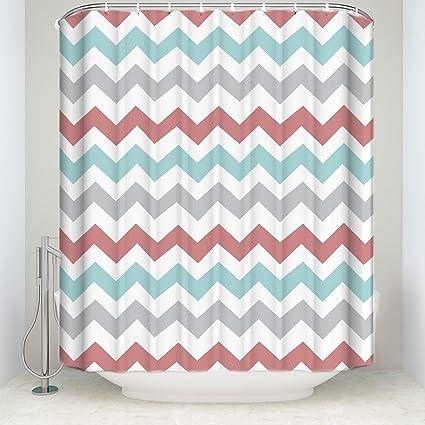 Amazon Libaoge Chevron Waterproof Polyester Fabric Bathroom