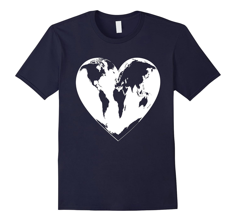 World Heart T-Shirt Map Countries Earth Globe Graphic Tee-TH