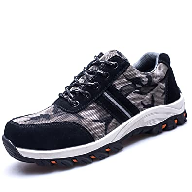 Zapatillas de Seguridad Hombre Punta de Acero Camuflaje Zapatos de Trabajo Entrenador Unisex Zapatillas de Senderismo con Cordones Ligeras: Amazon.es: ...