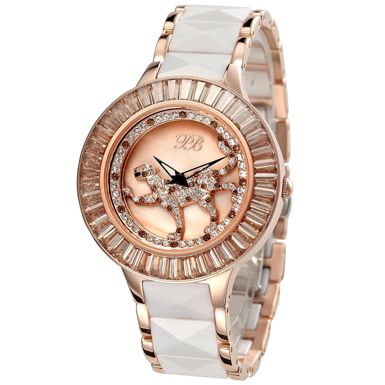 PB Damen-Armbanduhr Analog Quarz Österreich Crystal Keramik Frauen Uhren HL593PA
