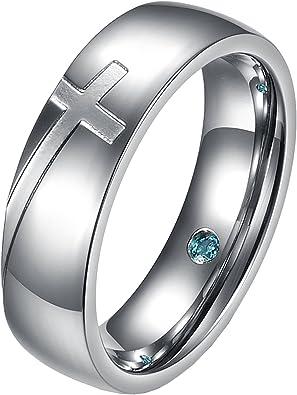 Amazon.com: Um joyas anillos Pareja Acero Inoxidable Promesa ...