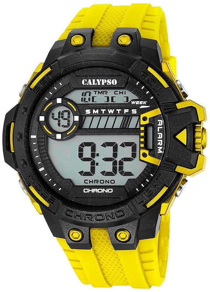 Calypso Herrenarmbanduhr Quarzuhr Kunststoffuhr mit Polyurethanband Alarm-Chronograph digital alle Modelle K5696, Variante:01: Amazon.es: Relojes