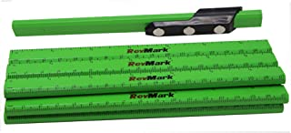 product image for RevMark Magnetic Carpenter Pencil Holder with 12 Black Lead Cedar Pencils with Ruler Imprint, Made in the USA, Great for Toolboxes, Toolbench, Metal Surfaces. (Neon Green)