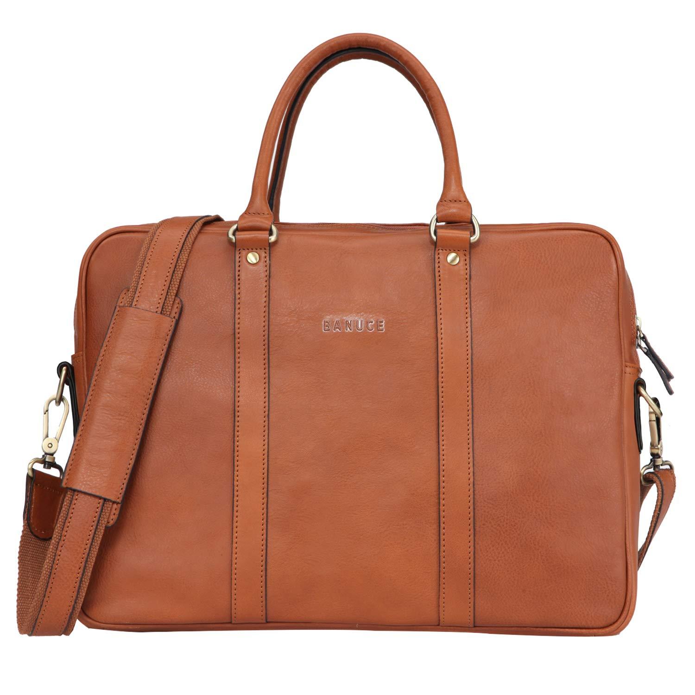 Banuce Vintage Full Grain Italian Leather Briefcase for Men Business Tote Messenger Satchel Bag 14 inch Laptop Attache Case