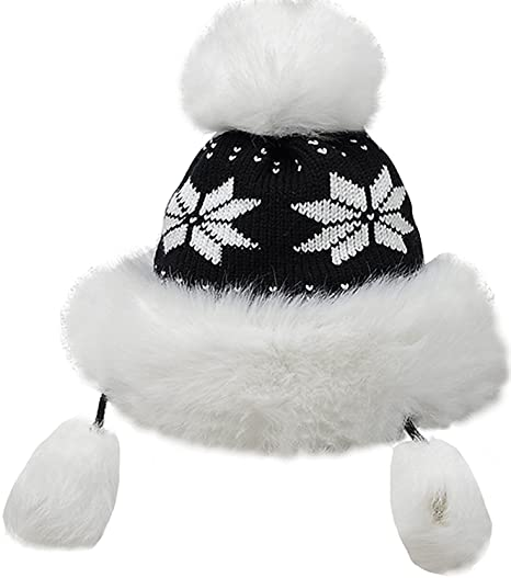 66164c784e9b2a Bienvenu Winter Mongolian Hat Women Trapper Russian Style Hat Cossack  Pompom, Black