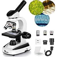 TELMU Microscope 40X-1000X, LED Illumination Lab Compound Monocular Microscopes with 10 Slides for Kids/Students/Adult