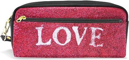 Estuche para lápices de estudiantes, con diseño de letra de amor, con purpurina roja, organizador de lápices, estuche para mujeres, cartera impermeable, bolsa de maquillaje de gran capacidad: Amazon.es: Oficina y papelería
