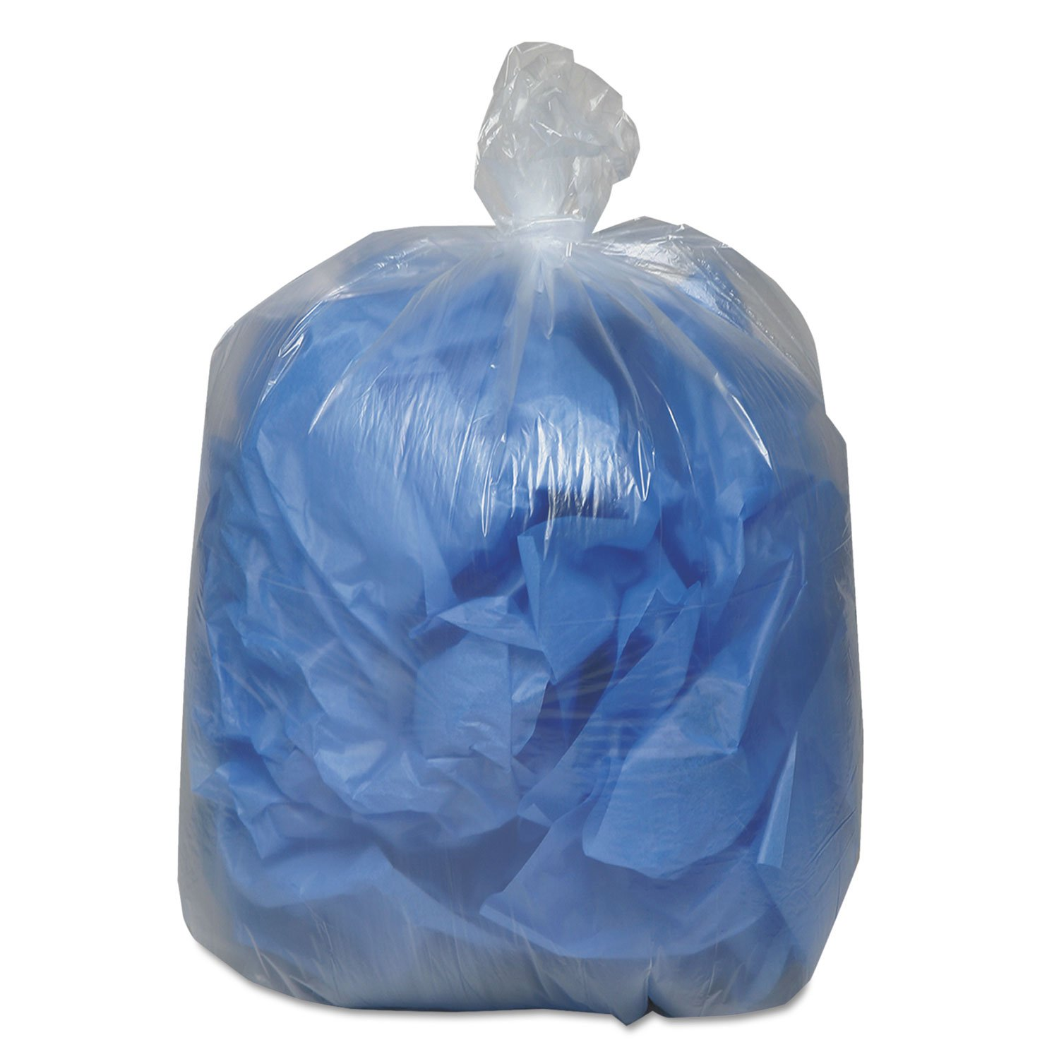 Earthsense Clear Recycled Can Liners, 55-60 gallons, 1.5mil, Clear  (Case of 100) by Webster (Image #1)