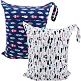 AlVABABY 2pcs Travel Wet and Dry Cloth Diapers Wet Bags Waterproof Reusable with Two Zippered Pockets L0130