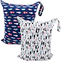 ALVABABY 2pcs Travel Wet and Dry Cloth Diapers Wet Bags Waterproof Reusable with Two Zippered Pockets L0130-AU