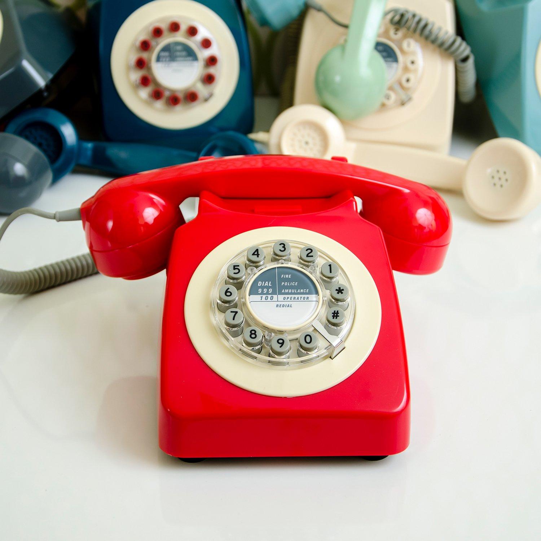 Concrete Grey Wild Wood Rotary Design Retro Landline Phone for Home