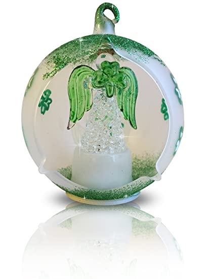 BANBERRY DESIGNS LED Glass Globe Christmas Tree Ornament with Irish Angel &  Shamrocks - Color Changing - Amazon.com: BANBERRY DESIGNS LED Glass Globe Christmas Tree Ornament