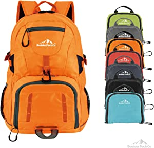 Boulder Pack Co. Lightweight Foldable Travel & Hiking Backpack Daypack Bag - Fits Laptop