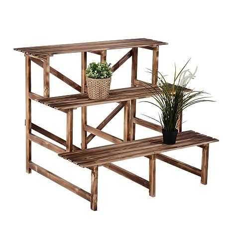Outsunny - Estantería de madera con 3 niveles para jardín ...