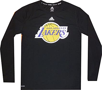 Los Angeles Lakers Climalite Youth Long Sleeve Black T Shirt Boys 8-20  (Youth f1a9ce3b8