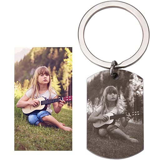 Fanery Sue Personalized Photo Custom Text Military Dog Tag Name Keychain Key Tags Keyring Engraved Picture Image(Silver)