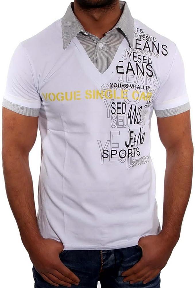 J & J Jeans 2 in1 Polo Camiseta de Slimfit de Manga Corta para ...