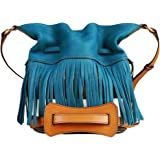 Burberry Canvas Check Fringe Ashby Teal Blue Crossbody Handbag