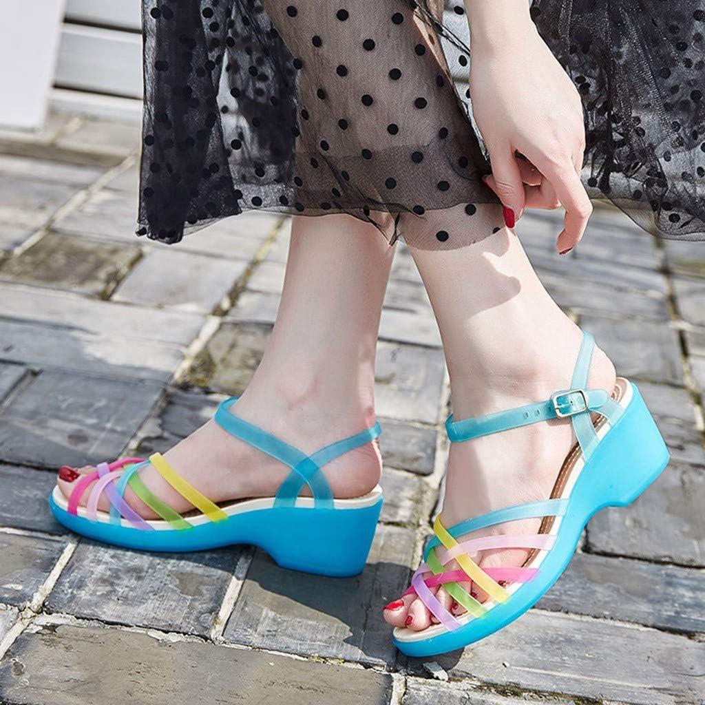 Yowablo Sandales Chaussures Femmes Summer Clue Block Heel Slip Candy Beach Chaussures Bleu