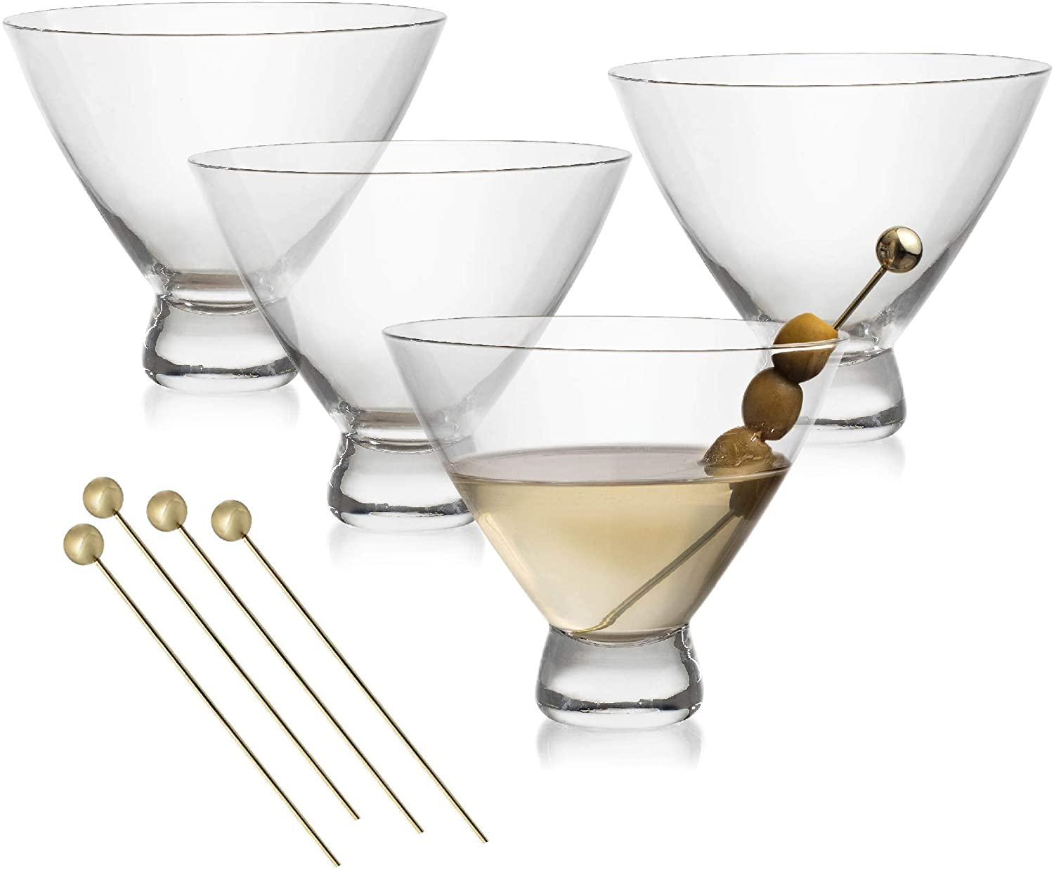Stemless 10 Oz. Cocktail and Martini Glasses Set – 4 Crystal Wine Glasses with 4 Gold-Plated Picks – Lead-Free, Handmade Bar Cart Supplies and Tools by Lumi & Numi, 4.3x3.7 In.