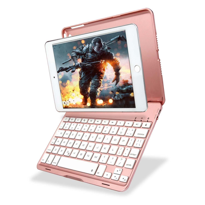 KIWETASO iPad Mini 3/2 Keyboard case, iPad Mini Keyboard Cover RGB 7 Colors backlits 135 Degree Swivel with auto Wake/Sleep for Apple iPad Mini 3/2 (Rose Gold)