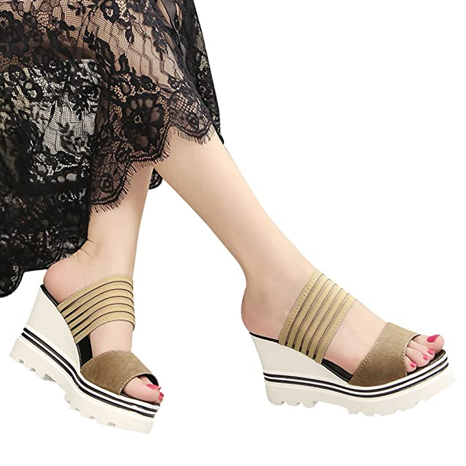 43756ebaedc8 Slippers For Womens -Clearance Sale ,Farjing Women Fish Mouth Platform High Heels  Wedges Sandals