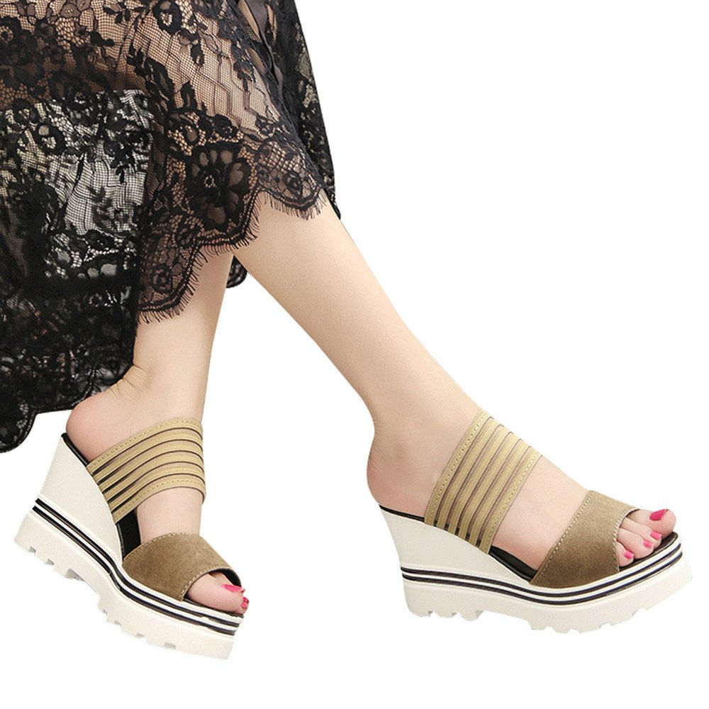 Slippers For Womens -Clearance Sale ,Farjing Women Fish Mouth Platform High Heels Wedges Sandals Open Toe Shoes Slippers(US:5.5,Khaki)