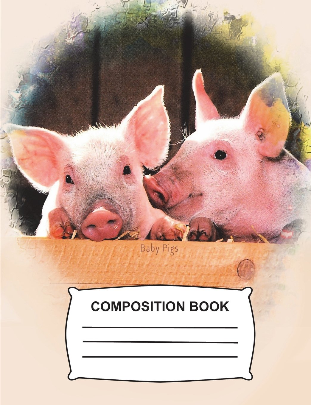 amazon baby pigs composition book unruled blank sketch paper