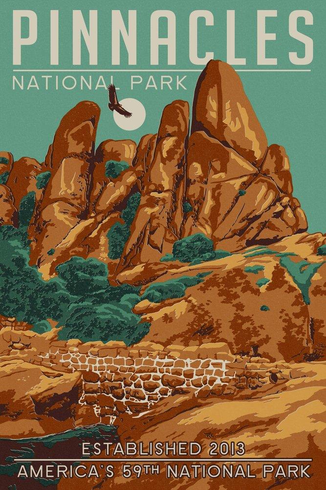 Pinnacles National Park, California - WPA Formations and Condor (9x12 Art Print, Wall Decor Travel Poster)
