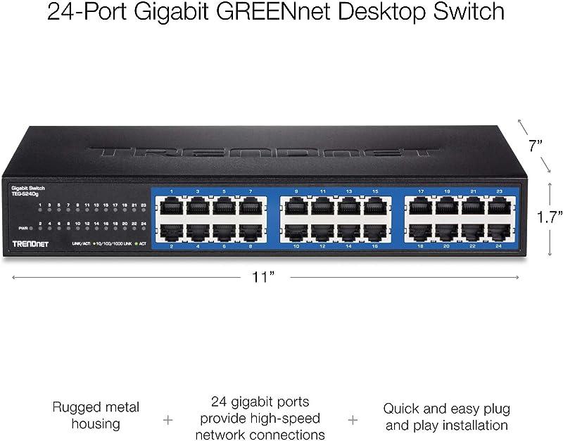 TRENDnet 24-Port Unmanaged Gigabit GREENnet Desktop Metal Switch, TEG-S24DG, Ethernet/Network Switch, 24 x 10/100/1000 Gigabit Ethernet RJ-45 Ports