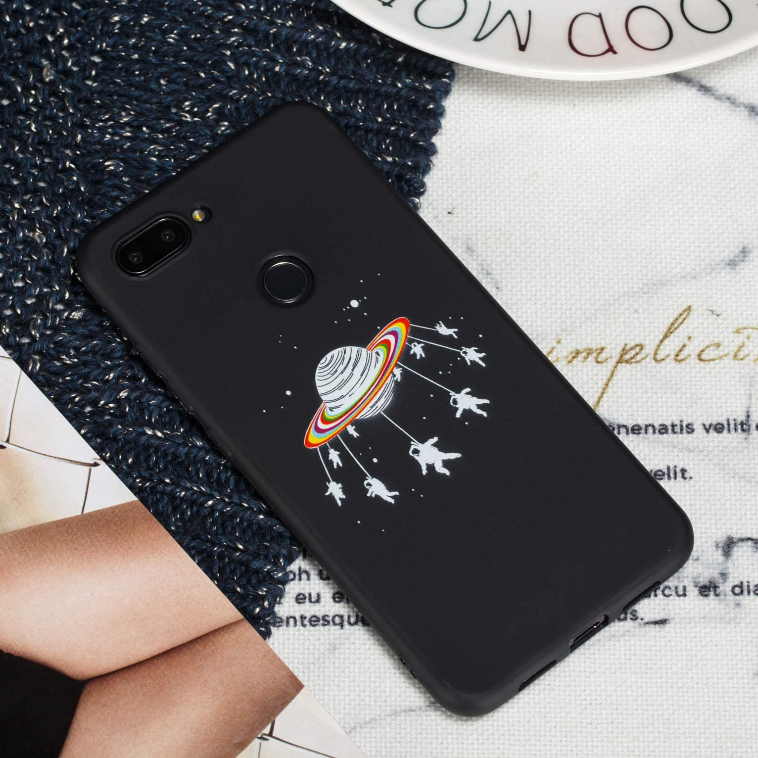 Rose ChoosEU Compatible avec Coque Xiaomi Mi 8 Lite Silicone Souple Noir Motif pour Filles Femmes Homme Etui Soft /Étui Ultra Fine Antichoc Housse Mince Case Protection