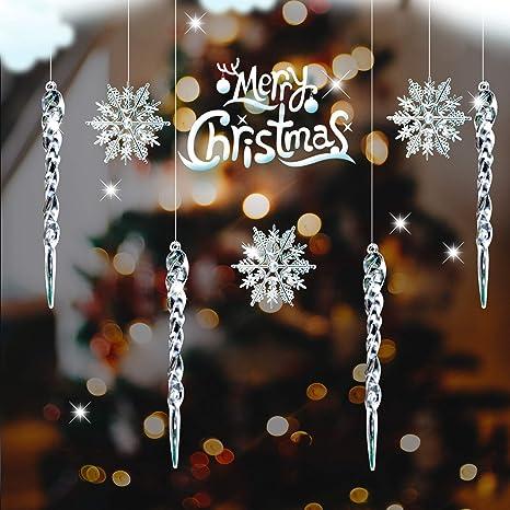 Arbre de Noël Suspendu Décorations-Plastique Transparent Flocon de neige-Lot de 4