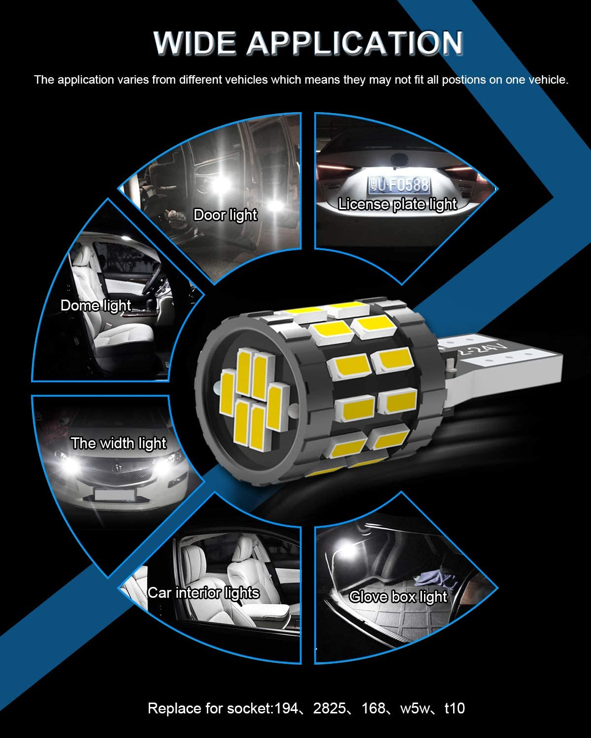 KATUR 194 T10 W5W 168 LED Light Bulb Super Bright Blue 30-SMD 3014 Chips 12-24V CANBUS Error Free LED Bulbs Replacement for Car Dome Map Door Courtesy License Plate Light Upgraded Version