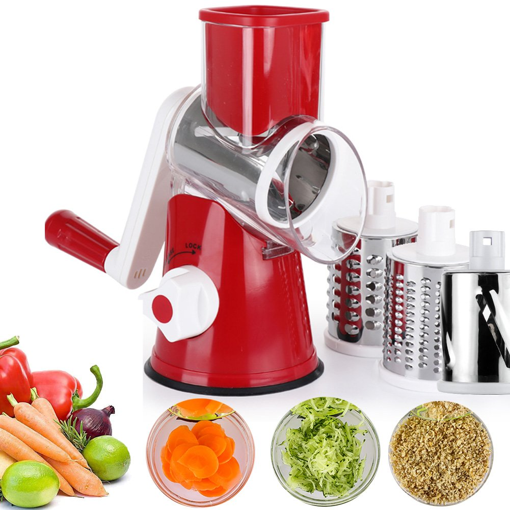 Vegetable Mandoline Chopper,Upintek 3-Blades Manual Vegetable Slicer,Efficient and Fast Vegetable Fruit Cutter Cheese Shredder, Speedy Rotary Drum Grater Slicer with Strong-Hold Suction Cup(Red) 315-003