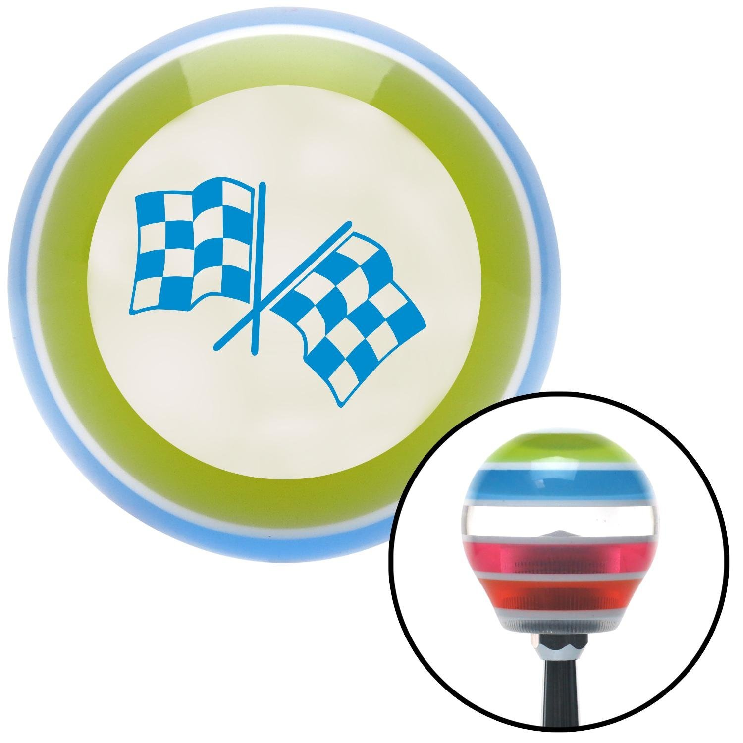 Blue Checkered Flags American Shifter 135963 Stripe Shift Knob with M16 x 1.5 Insert