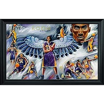 f5a243fd2bf44 Kobe Bryant Wall Art Decor Framed Print | 36x24 Premium (Canvas/Painting  Like) Textured Poster | NBA Lakers Basketball Fan Picture for Boys Room  Walls ...