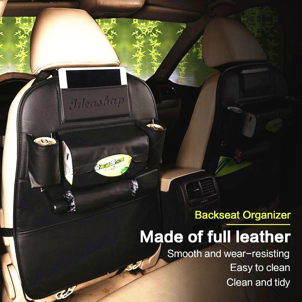 PU Leather Car Backseat Storage Organizer Adjustable Multi Function
