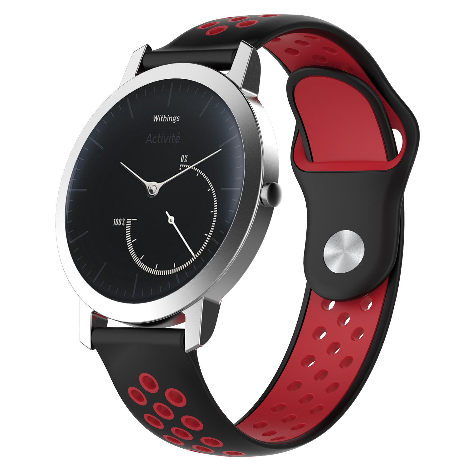 Pinhen 18mm Watch Band, 18mm Quick Silicone Replacement Strap for Nokia Withings Activite/Steel HR 36mm, Huawei Watch (Black Red)