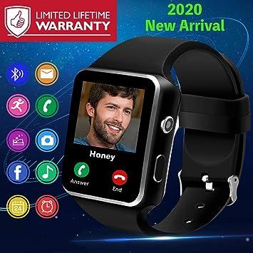 Smartwatch, Impermeable Reloj Inteligente Android con Ranura para Tarjeta SIM,Bluetooth Smart Watch con Whatsapp Cámara, Podómetro Telefono Sport ...
