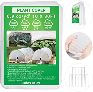 Plant Covers, 0.9oz 10FT x 30FT Reusable Floating Row Cover, Freeze Protection Plant Blankets for Winter Frost Protection, Sun, Pest Protection, and Plant Growth Season, 10 pcs Staples Stakes