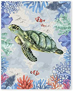 Sea Turtle Pictures Wall Art - Unframed 8x10 in - Beach Theme Artwork Prints for Bathroom - Navy Seascape Nautical for Bedroom Living Room Bedroom Home Office Decorations